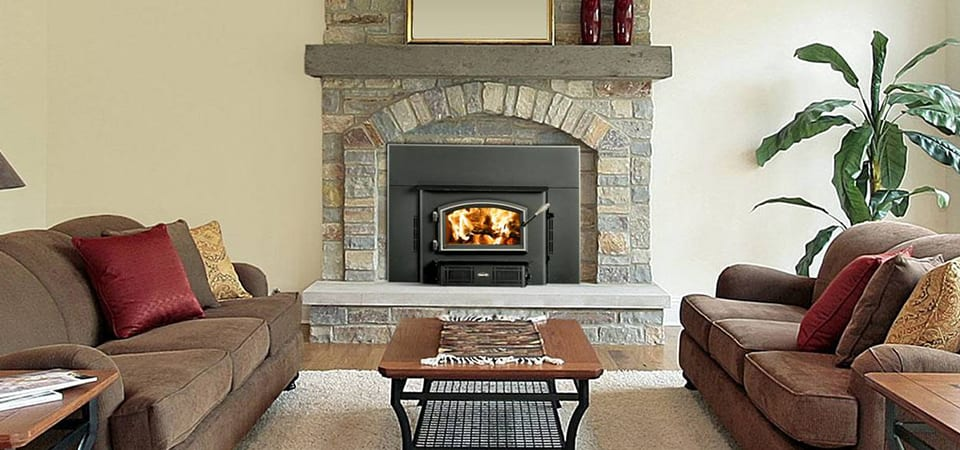 wood fireplace in a living room