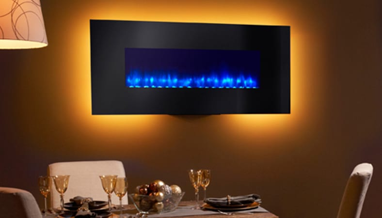 wall mounted electric fireplace in a dining room